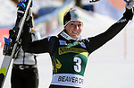 November 29, 2013 - Beaver Creek, Colorado, U.S. - Italy's, Elena Fanchini, celebrates her third place finish in the ladies downhill competition on Vail/Beaver Creek's new women's Raptor race course, Beaver Creek, Colorado.