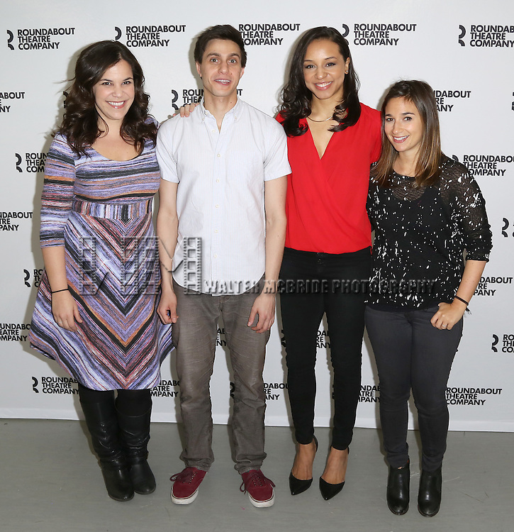 Lindsay Mendez, Gideon Glick, Carra Patterson and Sas Goldberg attends the cast photo call for 'Significant Other' at the Roundabout Theatre rehearsal hall on April 24, 2015 in New York City.