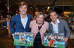 VOGELENZANG - Pauline Hogeweg (ONVZ)  met Thierry Brinkman en Jorrit Croon, , die 50 interlands speelden, . Spelerslunch KNHB 2019.   COPYRIGHT KOEN SUYK
