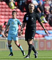 Referee Martin Atkinson in action <br /> <br /> Photographer David Shipman/CameraSport<br /> <br /> The Premier League - Middlesbrough v Burnley - Saturday 8th April 2017 - Riverside Stadium - Middlesbrough<br /> <br /> World Copyright &copy; 2017 CameraSport. All rights reserved. 43 Linden Ave. Countesthorpe. Leicester. England. LE8 5PG - Tel: +44 (0) 116 277 4147 - admin@camerasport.com - www.camerasport.com