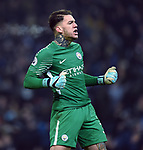 Manchester City goalkeeper Ederson celebrates during the premier league match at the Etihad Stadium, Manchester. Picture date 16th December 2017. Picture credit should read: Robin ParkerSportimage