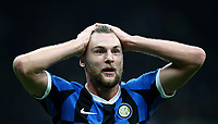 Calcio, Serie A: Inter Milano - Hellas Verona, Giuseppe Meazza stadium, November 9, 2019.<br /> Inter's Milan Skriniar reacts during the Italian Serie A football match between Inter and Hellas Verona at Giuseppe Meazza (San Siro) stadium, on November 9, 2019.<br /> UPDATE IMAGES PRESS/Isabella Bonotto