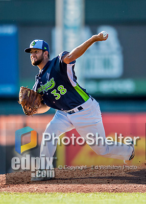 16 July 2017: Vermont Lake Monsters pitcher Ivan Andueza on the mound against the Auburn Doubledays at Centennial Field in Burlington, Vermont. The Monsters defeated the Doubledays 6-3 in NY Penn League action. Mandatory Credit: Ed Wolfstein Photo *** RAW (NEF) Image File Available ***