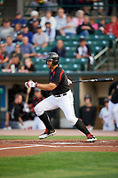 Rochester Red Wings right fielder Daniel Palka (37) at bat during a game against the Buffalo Bisons on August 25, 2017 at Frontier Field in Rochester, New York.  Buffalo defeated Rochester 2-1 in eleven innings.  (Mike Janes/Four Seam Images)