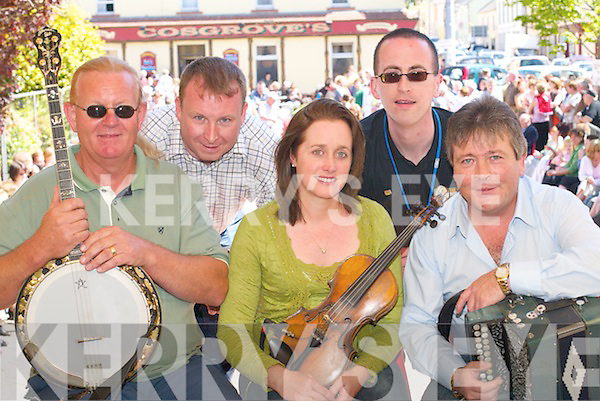 Tom Skelly, Ger Murphy, Martina ONeill, Eoin OShea and Johnny Reidy providing the music in the square in Milltown on Sunday..