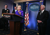 "United States Secretary of State Hillary Rodham Clinton briefs the media on Friday, March 26, 2010 at the White House following U.S. President Barack Obama's phone call with President Dmitry Medvedev of Russia in which the two leaders agreed to sign the ""New START Treaty"" in Prague, Czech Republic on April 8, 2010. Looking on are Chairman of the Joint Chiefs of Staff Admiral Mike Mullen (left), White House Press Secretary Robert Gibbs, and U.S. Secretary of Defense Robert Gates (right)..Credit: Martin H. Simon - Pool via CNP"