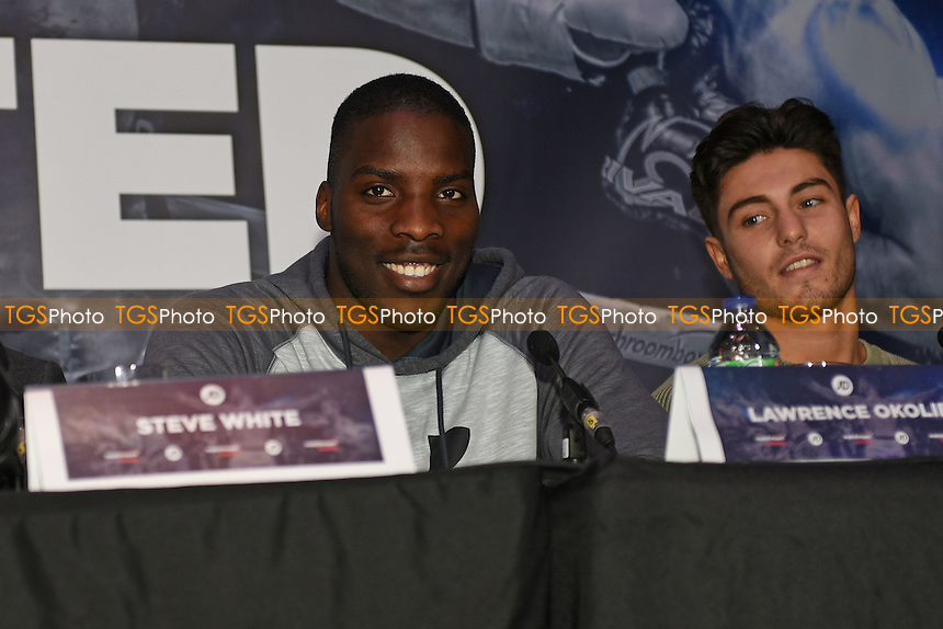 Boxer Lawrence Okolie smiles during a Matchroom Boxing Press Conference at The O2 on 2nd March 2017
