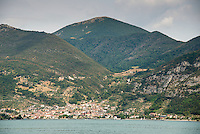 View of Predore, Lake Iseo or Lago d'Iseo or Sebino is the fourth largest lake in Lombardy, Italy, fed by the Oglio river. It is in the north of the country in the Val Camonica area, near the cities of Brescia and Bergamo.