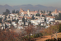 Churches of San Cristobal, San Nicolas and San Salvador, and El Albayzin, the medieval Moorish old town of Granada, seen from the Alhambra Palace, Granada, Andalusia, Southern Spain. From the 8th to the 15th centuries, Granada was under muslim rule and retains a distinctive Moorish heritage. Granada was listed as a UNESCO World Heritage Site in 1984. Picture by Manuel Cohen