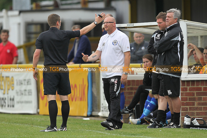 Romford manager Paul Martin is sent to the stand by the referee - Romford vs Wroxham - Ryman League Division One North Football at Ship Lane, Thurrock FC - 02/09/12 - MANDATORY CREDIT: Gavin Ellis/TGSPHOTO - Self billing applies where appropriate - 0845 094 6026 - contact@tgsphoto.co.uk - NO UNPAID USE.