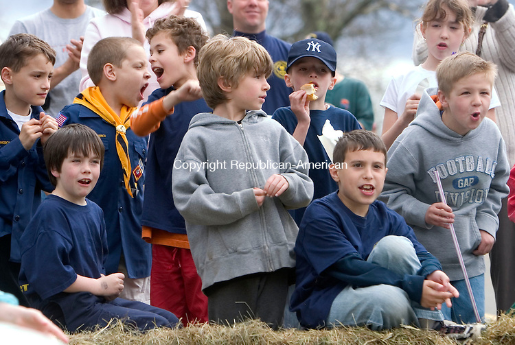 BETHLEHEM, CT- 29 APRIL 07- 042907JT12-<br /> Cub Scouts from Pack 459 cheer on their soap box car drivers during their 2nd annual Downhill Derby on Hard Hill Road North in Bethlehem on Sunday.<br /> Josalee Thrift Republican-American