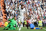 Real Madrid's Keylor Navas and Daniel Carvajal and Atletico de Madrid's Antoine Griezmann during La Liga match between Real Madrid and Atletico de Madrid at Santiago Bernabeu Stadium in Madrid, April 08, 2017. Spain.<br /> (ALTERPHOTOS/BorjaB.Hojas)