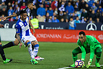 Luciano Neves of Club Deportivo Leganes and Keylor Navas of Real Madrid during the match of  La Liga between Club Deportivo Leganes and Real Madrid at Butarque Stadium  in Leganes, Spain. April 05, 2017. (ALTERPHOTOS / Rodrigo Jimenez)