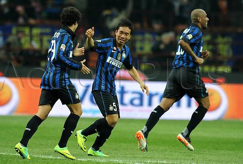 10.12.2011. Milan Italy, The Seria A football match between Inter Milan and Fiorentina. Image shows Esultanza After Il Gol Tue Yuto Nagatomo Inter Goal  Milano