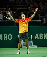 Rotterdam, The Netherlands, Februari 11, 2016,  ABNAMROWTT, Alexander Zverev (GER) jubilates his win over Simon<br /> Photo: Tennisimages/Henk Koster