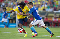 Action photo during the match Brazil vs Ecuador, Corresponding Group -B- America Cup Centenary 2016, at Rose Bowl Stadium<br /> <br /> Foto de accion durante el partido Brasil vs Ecuador, Correspondiante al Grupo -B-  de la Copa America Centenario USA 2016 en el Estadio Rose Bowl, en la foto:  (i-d) Juan Carlos Paredes de Ecuador y Philippe Coutinho de Brasil<br /> <br /> <br /> 04/06/2016/MEXSPORT/Victor Posadas.
