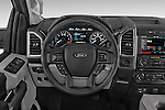 Steering Wheel View of 2015 Ford F-150 XLT Super Cab 2 Door Truck Stock Photo