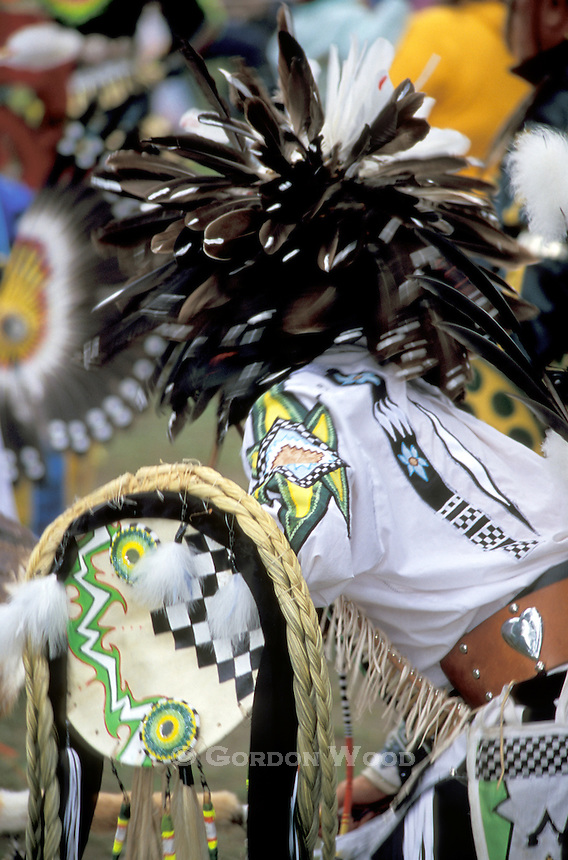 Dance Performer with feather headdress at Pow Wow