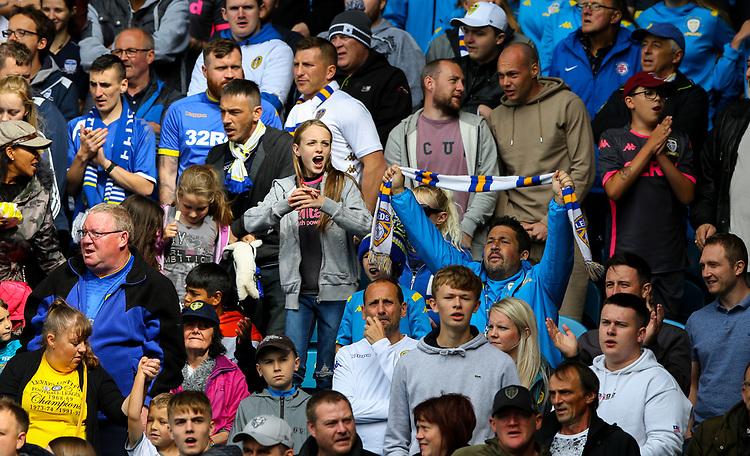 Leeds United fans enjoy the atmosphere<br /> <br /> Photographer Alex Dodd/CameraSport<br /> <br /> The EFL Sky Bet Championship - Leeds United v Swansea City - Saturday 31st August 2019 - Elland Road - Leeds<br /> <br /> World Copyright © 2019 CameraSport. All rights reserved. 43 Linden Ave. Countesthorpe. Leicester. England. LE8 5PG - Tel: +44 (0) 116 277 4147 - admin@camerasport.com - www.camerasport.com