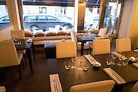 Table set with napkins wine glasses and forks at the trendy restaurant Beluga on Ostermalm Stockholm, Sweden, Sverige, Europe