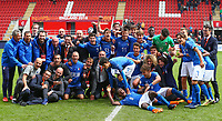 Italy U17 celebrate processing to the FINAL during the UEFA Under-17 Euro Championship match between Italy and Belgium at the New York Stadium, Rotherham, England on 17 May 2018. Photo by PRiME Media Images.