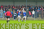 AIB Munster Club Junior Hurling Championship Quarter Final which took place on Sunday at 2pm in Kevin Long Park, Feenagh.  Referee Paul Foley of Waterford.  Feenagh-Kilmeedy VS Kenmare Shamrocks.  <br /> <br /> Fionan O'Sullivan (12) of Kenmare Shamrocks catches a great ball being backed up by his team mate Shane Duncan (18) while being challenged by Bryan Hannigan (5) and Donal Harrold (8) of Feenagh/Kilmeedy.
