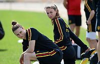 20180301 - LARNACA , CYPRUS :  Belgian Heleen Jaques (left) and Silke Vanwynsberghe pictured during a Matchday -1 training from The Belgian Red Flames prior to their game against Spain , on Thursday 1 March 2018 at the Alpha Sports Grounds in Larnaca , Cyprus . This will be the second game in group B for Belgium during the Cyprus Womens Cup , a prestigious women soccer tournament as a preparation on the World Cup 2019 qualification duels. PHOTO SPORTPIX.BE | DAVID CATRY