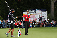 Darren Fichardt (RSA) putting for par on the 16th during the Final Round of the British Masters 2015 supported by SkySports played on the Marquess Course at Woburn Golf Club, Little Brickhill, Milton Keynes, England.  11/10/2015. Picture: Golffile | David Lloyd<br /> <br /> All photos usage must carry mandatory copyright credit (&copy; Golffile | David Lloyd)
