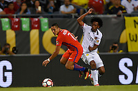 Chicago, IL - Wednesday June 22, 2016: Alexis Sanchez, Juan Cuadrado during a Copa America Centenario semifinal match between Colombia (COL) and Chile (CHI) at Soldier Field.