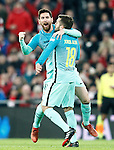 FC Barcelona's Leo Messi and Jordi Alba celebrate goal during Spanish Kings Cup match. January 05,2017. (ALTERPHOTOS/Acero)