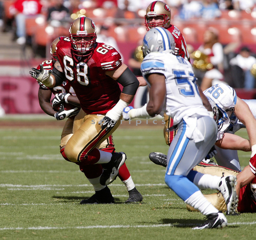 ADAM SNYDER, of the San Francisco 49ers, in action during the  49ers game against the  Detroit Lions  on September 21, 2008 in San Francisco, California...The San Francisco 49ers win 31-13