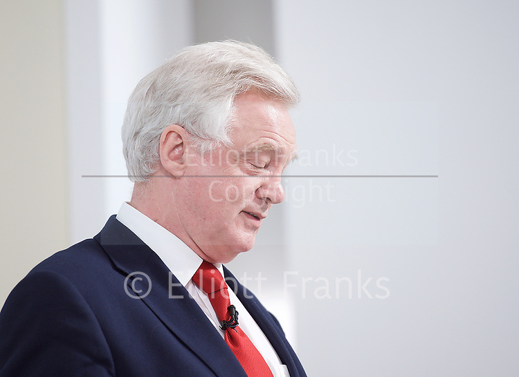 Philip Hammond,<br /> Chancellor of the Exchequer  <br /> and David Davis, Secretary of State for Exiting the European Union<br /> speak at a campaign event in Central London, Great Britain <br /> 3rd May 2017 <br />  <br /> David Davis MP <br /> <br /> <br /> Photograph by Elliott Franks <br /> Image licensed to Elliott Franks Photography Services