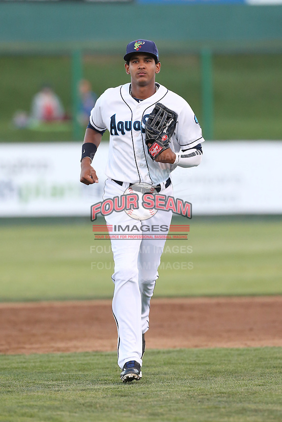 Wilton Martinez #11 of the Everett AquaSox during a game against the Tri-City Dust Devils at Everett Memorial Stadium on July 29, 2014 in Everett, Washington. Everett defeated Tri-City, 7-5. (Larry Goren/Four Seam Images)