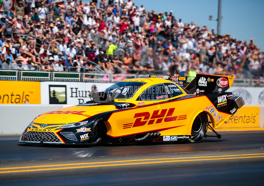 Jul 27, 2019; Sonoma, CA, USA; NHRA funny car driver J.R. Todd during qualifying for the Sonoma Nationals at Sonoma Raceway. Mandatory Credit: Mark J. Rebilas-USA TODAY Sports