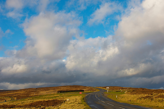 Moor top at Blakey Ridge with dramatic clouds, North Yorkshire Moors National Park, England.