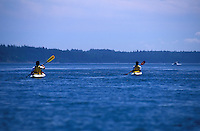 Two Male sea kayaker paddling in synchronized strokes, Cypress Island, San Juan Islands, Washington
