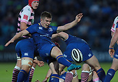 8th September 2017, RDS Arena, Dublin, Ireland; Guinness Pro14 Rugby, Leinster versus Cardiff Blues; Luke McGrath (Leinster) kicks clear