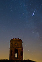 12/08/15<br /> <br /> A dazzling shooting star burns brightly as it plummets to earth over  Solomon's Temple, also known as Grinlow Tower, overlooking Buxton in the Derbyshire Peak District.  The shot, taken at 12:45am on Wednesday morning, was taken mid-way through the annual Perseid meteor shower where many shooting stars can be seen each minute.<br /> <br /> All Rights Reserved: F Stop Press Ltd. +44(0)1335 418629   www.fstoppress.com.