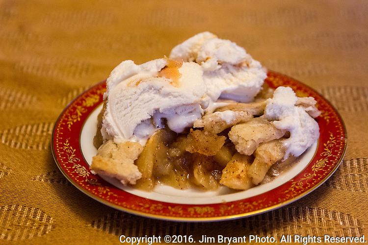 Apple pie with carmael ice cream. ©2016. Jim Bryant Photo. All Rights Reserved.