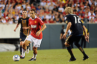 Dimitar Berbatov (9) of Manchester United. Manchester United (EPL) defeated the Philadelphia Union (MLS) 1-0 during an international friendly at Lincoln Financial Field in Philadelphia, PA, on July 21, 2010.