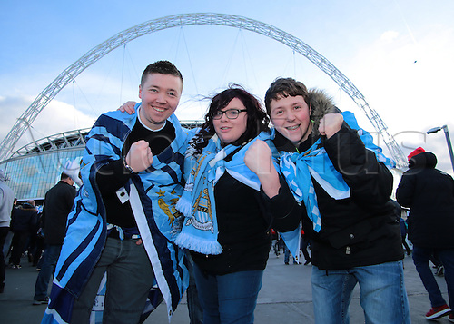 28.02.2016. Wembley Stadium, London, England. Capital One Cup Final. Manchester City versus Liverpool. Manchester City fans arrive at Wembley Stadium