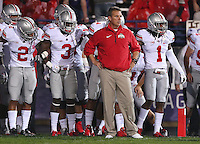 Ohio State Buckeyes head coach Urban Meyer waits to lead his team onto the field prior to the NCAA football game between Ohio State and Northwestern at Ryan Field in Evanston, Illinois on Saturday, October 5, 2013. Final score: Ohio State 40, Northwestern 30. (Columbus Dispatch photo by Jonathan Quilter)