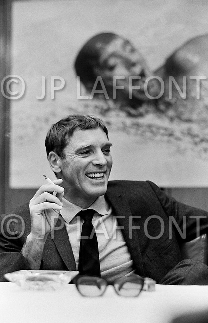 New York City, USA. May 1968. American actor Burt Lancaster during a press conference for the release of The Swimmer, directed by Frank Perry.