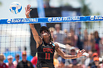 GULF SHORES, AL - MAY 07:  Joy Dennis (11) of the University of Southern California hits the ball during the Division I Women's Beach Volleyball Championship held at Gulf Place on May 7, 2017 in Gulf Shores, Alabama.The University of Southern California defeated Pepperdine 3-2 to claim the national championship. (Photo by Stephen Nowland/NCAA Photos via Getty Images)