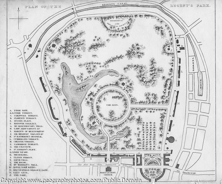 Plan of the Regent's Park, engraving 'Metropolitan Improvements, or London in the Nineteenth Century' London, England, UK 1828 , drawn by Thomas H Shepherd