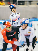 2nd February 2019, Dresden, Saxony, Germany; World Short Track Speed Skating; finals, 1000 meters for men in the EnergieVerbund Arena : winner Dae Heon Hwang (top) from South Korea after the race