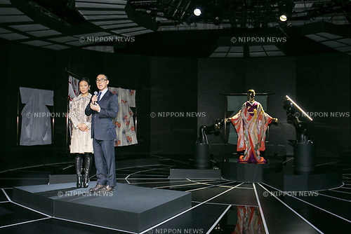 Lawrence Ho chairman and CEO of Melco Resorts and Entertainment Ltd., speaks during the opening ceremony for the KIMONO ROBOTO exhibition at Omotesando Hills on November 30, 2017, Tokyo, Japan. The exhibition features 13 kimonos created by experts using traditional methods and a humanoid robot dressed in traditional kimono performing in the middle of the hall. The exhibition runs til December 10. (Photo by Rodrigo Reyes Marin/AFLO)