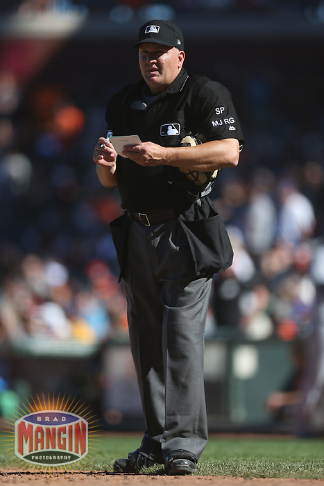 SAN FRANCISCO, CA - JULY 22:  Home plate umpire Jeff Nelson works the game between the San Diego Padres and San Francisco Giants at AT&T Park on Saturday, July 22, 2017 in San Francisco, California. (Photo by Brad Mangin)