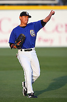 April 15 2009: Julio Perez of the Rancho Cucamonga Quakes before game against the Visalia Rawhide at The Epicenter in Rancho Cucamonga,CA.  Photo by Larry Goren/Four Seam Images