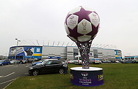 A UEFA Womens Champions League football statue outside the Cardiff City Stadium in the countdown until the Final takes place prior to kick off of the Sky Bet Championship match between Cardiff City and Birmingham City at The Cardiff City Stadium, Cardiff, Wales, UK. 11 March 2017